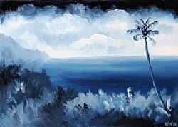 Daily Painters Blog - Blue Hawaiian #2- Midnight Oil Painting Series - A Painting a Day by Northern California Artist Mark Webster