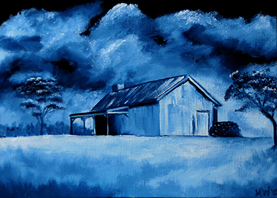 """Old Cabin Oil Painting - Midnight Oil Series by Artist Mark Webster by Mark Webster Oil ~ 5"""" x 7"""""""