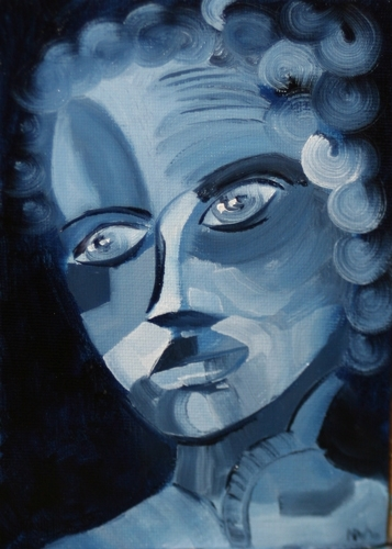 """Abstract Portrait Oil Painting #3 - Midnight Oil Series by Northern California Artist Mark A. Webster by Mark Webster Oil ~ 7"""" x 5"""""""