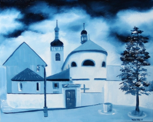 "St. Wenceslas� Basilica and St. Clement�s Church in Star� Boleslav - Midnight Oil Series by Mark Webster Oil ~ 8"" x 10"""