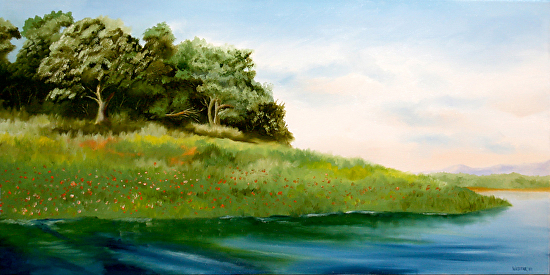 "Folsom Lake in the Spring Oil Painting by Artist Mark Webster by Mark Webster Oil ~ 15"" x 30"""