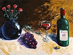 Mark Webster - Wine Flowers and Grapes Acrylic Still Life Acrylic Painting