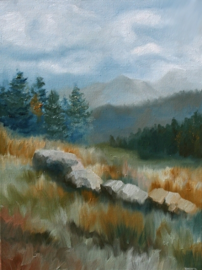 "Mountain Landscape Oil Painting by Northern California Artist Mark Webster by Mark Webster Oil ~ 24"" x 18"""
