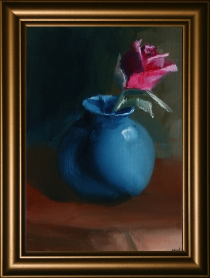 "Rose in Vase Still Life Oil Painting by Northern California Artist Mark Webster by Mark Webster Oil ~ 7"" x 5"""