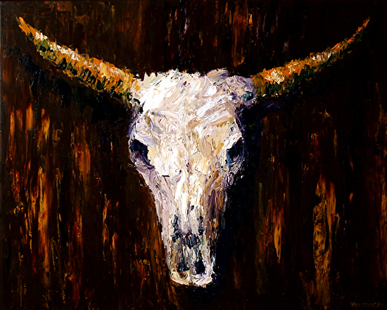 """Large Cow Skull Acrylic Textured Palette Knife Painting 24x30"""" by Northern California Artist Mark Webster by Mark Webster Acrylic ~ 24"""" x 30"""""""