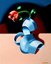 "Futurist Roses in Vase Oil Painting #2 by Artist Mark Webster by Mark Webster Oil ~ 10"" x 8"""