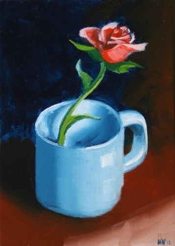 """Red Rose in Blue Coffee Cup Still Life Oil Painting by Mark Webster Oil ~ 7"""" x 5"""""""