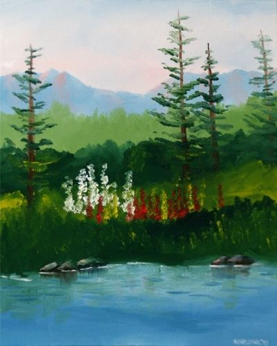 "Snapdragons by the River Landscape Oil Painting by Northern California Artist Mark Webster by Mark Webster Oil ~ 10"" x 8"""