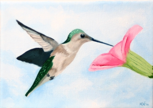 "Daily Painters Blog - Hummingbird with Morning Glory Oil Painting by Mark Webster Oil ~ 5"" x 7"""