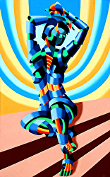 Mandy on the Staircase Abstract Futurism Oil Painting by Northern California Artist Mark Webster