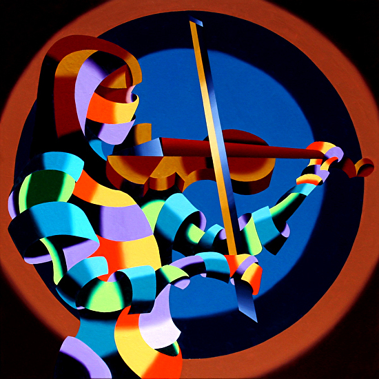The Violinist Abstract Futurism Oil and Acrylic (Mixed Media) Painting by Northern California Artist by Mark Webster  ~ 36 x -