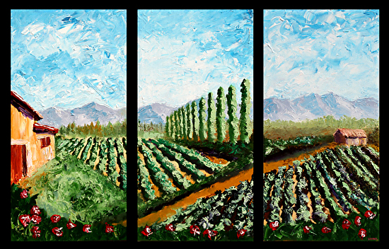 "Abstract California Vineyard Palette Knife Acrylic Painting Triptych by Artist Mark Webster by Mark Webster Acrylic ~ 30"" x 45"""