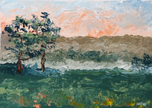 "Oak Trees at Sunset Palette Knife Oil Painting by Northern California Artist Mark Webster by Mark Webster Oil ~ 5"" x 7"""