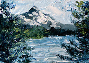 """Daily Painters Blog - Mt. Hood Palette Knife Oil Painting by Northern California Artist Mark Webster by Mark Webster Oil ~ 5"""" x 7"""""""