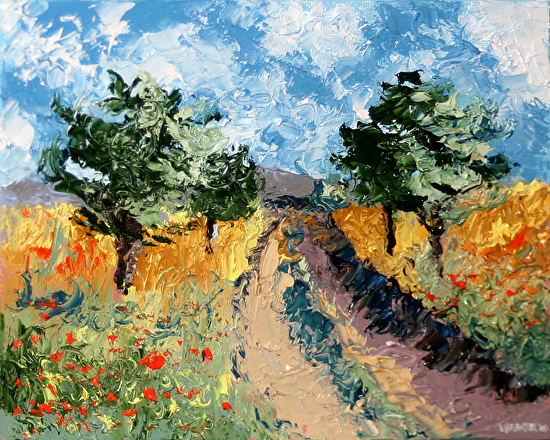 "Foothill Road Palette Knife Oil Painting by Northern California Artist Mark Webster by Mark Webster Oil ~ 8"" x 10"""
