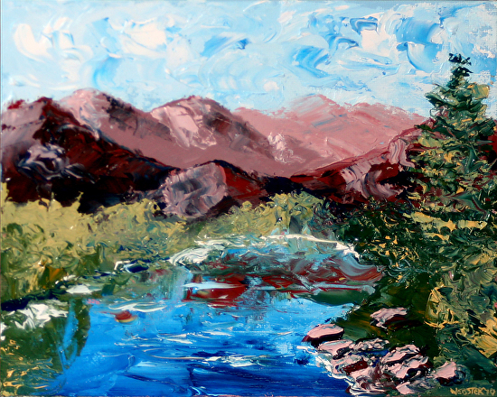 "Mountain River Palette Knife Oil Painting by California Artist Mark Webster by Mark Webster Oil ~ 8"" x 10"""