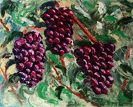 The Grape Vine Palette Knife Oil Painting by Northern California Artist Mark Webster by Mark Webster Oil ~ 16 x 20