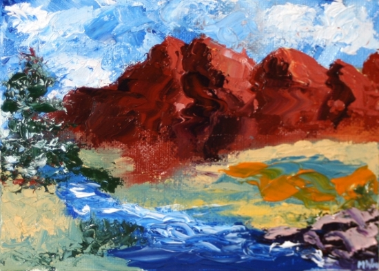 """Mountain River Palette Knife Oil Painting 7/29/10 by Northern California Artist Mark Webster by Mark Webster Oil ~ 5"""" x 7"""""""