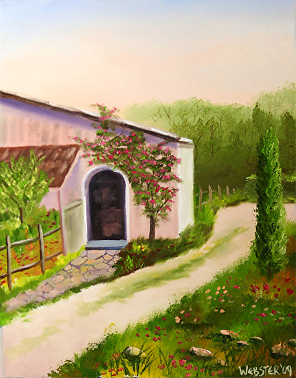 "Tuscan Villa in Siena Oil Painting by Northern California Artist Mark Webster by Mark Webster Oil ~ 14"" x 11"""