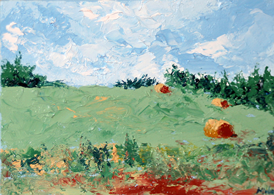 """Mark Webster - The Hay Bales Palette Knife Oil Painting by Northern California Artist by Mark Webster Oil ~ 5"""" x 7"""""""