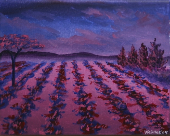 "Vineyard #15 Acrylic Painting by Northern California Artist Mark Webster by Mark Webster Acrylic ~ 8"" x 10"""