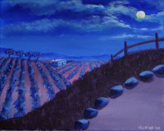 "Vineyard #16 Acrylic Painting by Northern California Artist Mark Webster by Mark Webster Acrylic ~ 8"" x 10"