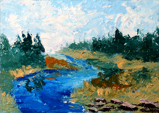 """River Palette Knife Oil Painting 9/7/10 by Northern California Artist Mark Webster by Mark Webster Oil ~ 5"""" x 7"""""""
