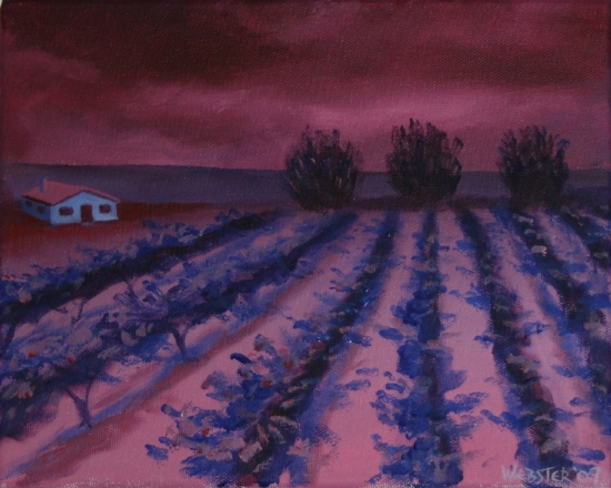 "Vineyard #17 Acrylic Painting - Original Acrylic Painting by Northern California Artist Mark Webster by Mark Webster Acrylic ~ 8"" x 10"""