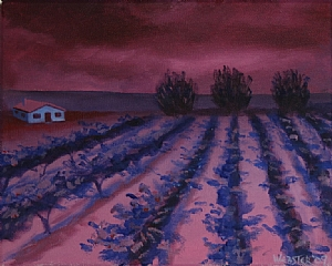 """Vineyard #17 Acrylic Painting - Original Acrylic Painting by Northern California Artist Mark Webster by Mark Webster Acrylic ~ 8"""" x 10"""""""