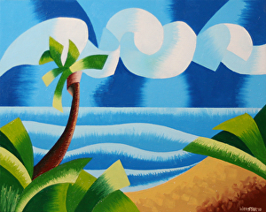 "Rough Futurist Hawaiian Landscape Oil Painting by Northern California Artist Mark Webster by Mark Webster Oil ~ 8"" x 10"""