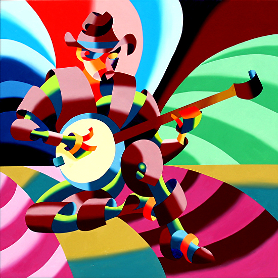 The Futurist Cowboy Banjo Player Oil Painting by Northern California Artist Mark Webster by Mark Webster  ~ 36 x -