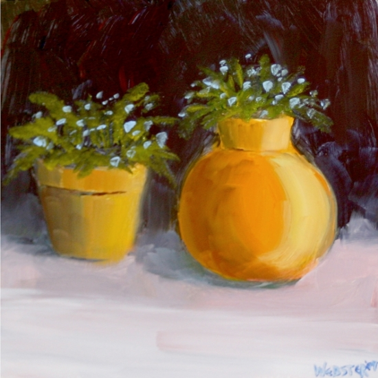 "Flowers in Pots - Original Oil Painting by Northern California Artist Mark Webster by Mark Webster Oil ~ 6"" x 6"""