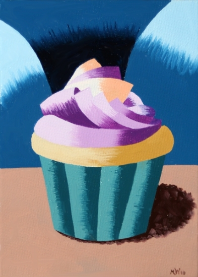 "Abstract Geometric Cupcake Oil Painting by Northern California Artist Mark Webster by Mark Webster Oil ~ 7"" x 5"""