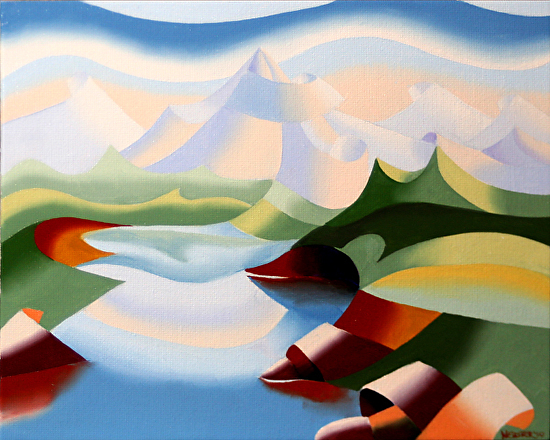 """Abstract Futurist Landscape Oil Painting by Northern California Artist Mark Webster by Mark Webster Oil ~ 8"""" x 10"""""""
