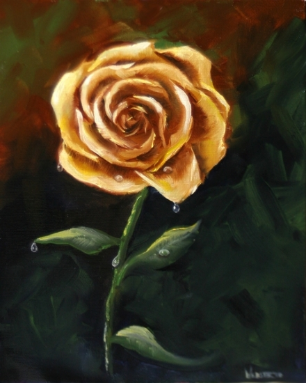 "Yellow Rose Oil Painting by Northern California Artist Mark Webster by Mark Webster Oil ~ 10"" x 8"""