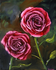 "Red Roses Oil Painting by Northern California Artist Mark Webster by Mark Webster Oil ~ 10"" x 8"""