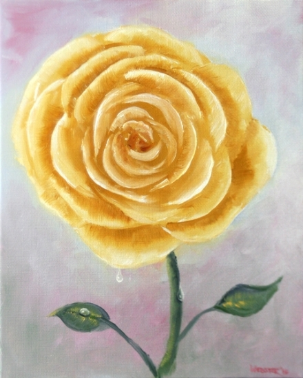 "Light Yellow Rose Oil Painting by Northern California Artist Mark Webster by Mark Webster Oil ~ 10"" x 8"""