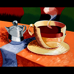 Abstract Rough Futurism Coffee Cup Still Life Oil Painting by Artist Mark Webster