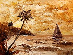 Large Sailboat on the Hawaiian Coast Oil Painting by Northern California Artist Mark Webster