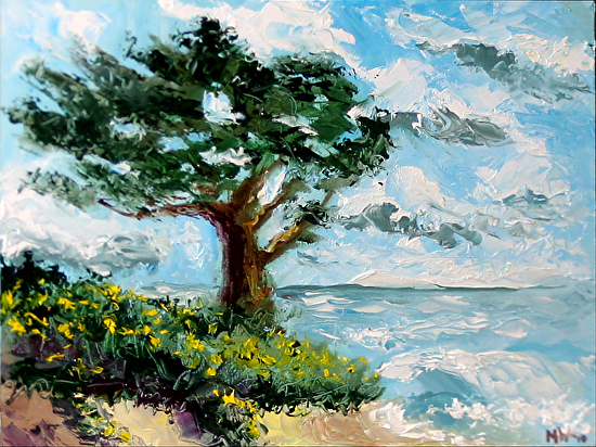 """Cypress Tree on the Pacific Coast Palette Knife Oil Painting by California Artist Mark Webster by Mark Webster Oil ~ 6"""" x 8"""""""
