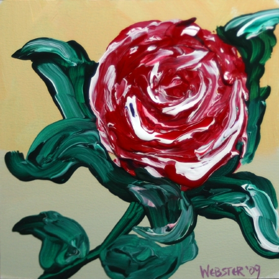 """Red Flower Painting Experiment - Acrylic Painting by Northern California Artist Mark Webster by Mark Webster Acrylic ~ 6"""" x 6"""""""