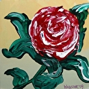 "Red Flower Painting Experiment - Acrylic Painting by Northern California Artist Mark Webster by Mark Webster Acrylic ~ 6"" x 6"""