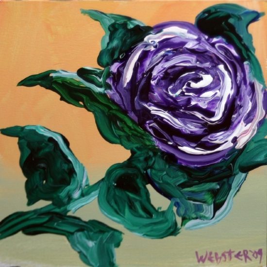 "Purple Flower Painting Experiment - Acrylic Painting by California Artist Mark Webster by Mark Webster Acrylic ~ 6"" x 6"""