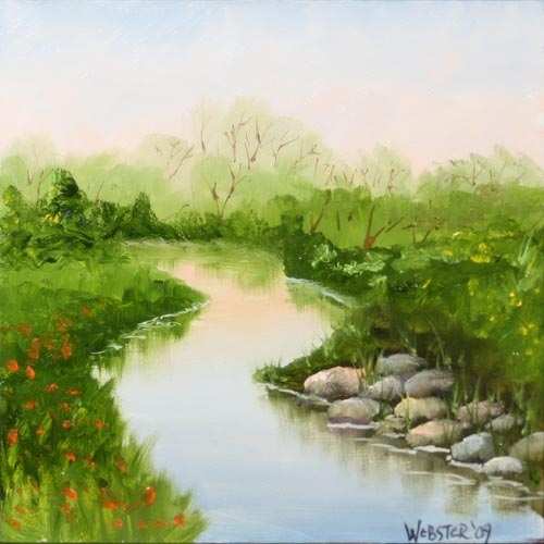 "River Rock 6x6"" Landscape Painting by Northern California Artist Mark Webster by Mark Webster Oil ~ 6"" x 6"""