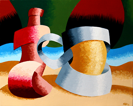 """Abstract Beer Mug and Bottle Oil Painting by Northern California Artist Mark Webster by Mark Webster Oil ~ 8"""" x 10"""""""