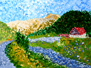 "Untitled Landscape Acrylic Painting - Romania - by Northern California Artist Mark Webster by Mark Webster Acrylic ~ 9"" x 12"""