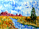 "Abstract Patchwork Landscape Acrylic Painting by Northern California Artist Mark Webster by Mark Webster Acrylic ~ 9"" x 12"""