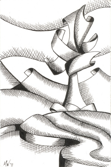 "Abstract Landscape Pen and Ink Drawing by Northern California Artist Mark Webster by Mark Webster Ink ~ 9"" x 6"""