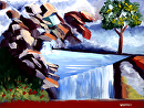 "Mark Webster - Abstract Waterfall Landscape Oil Painting. by Mark Webster Oil ~ 6"" x 8"""