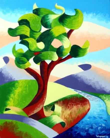 "Abstract River Oak Tree Landscape Oil Painting by Mark Webster Oil ~ 10"" x 8"""